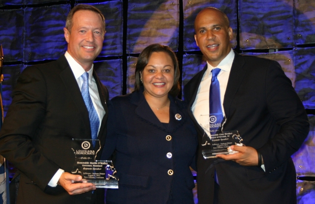 Governor Martin O'Malley, LDP Chairwoman Karen Carter Peterson, and Mayor Cory Booker.