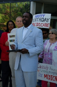 State Rep. Ted James speaks out against Cassidy's plan to raise the Medicare eligibility age to 70.